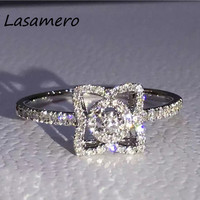 LASAMERO 0.2CT Round Cut Certified Ring Accents 18k White Gold Natural Diamond Engagement Wedding Ring Gemstone Ring Jewelry