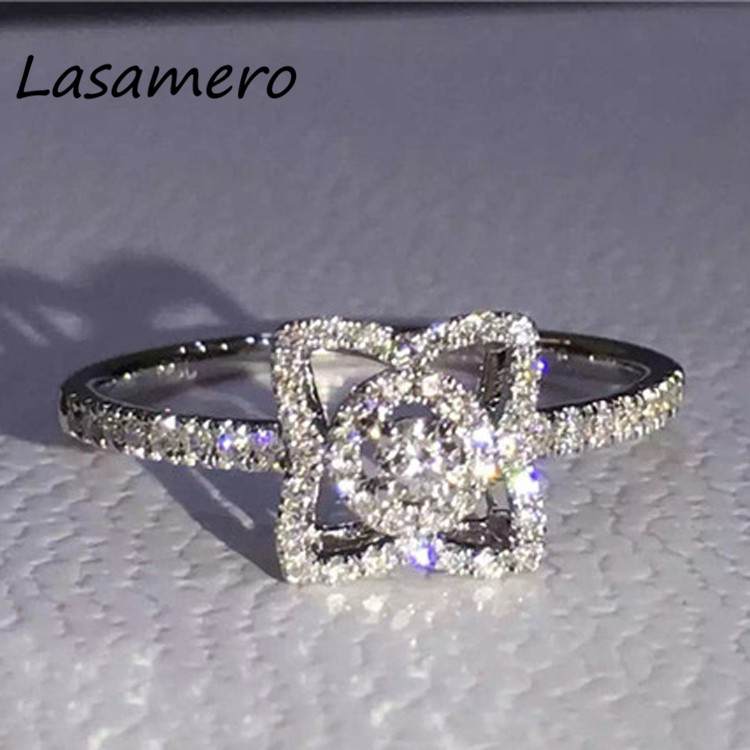LASAMERO 0.2CT Round Cut Certified Ring Accents 18k White Gold Natural Diamond Engagement Wedding Ring Gemstone Ring Jewelry