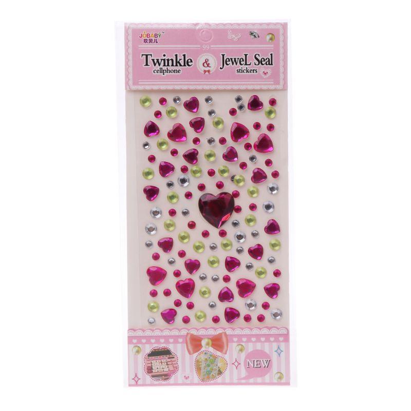 HBB 1 шт. сердце Форма стикер в виде бриллианта, кристалла DIY Наклейка Мобильный Art самоклеющиеся Скрапбукинг Стикеры «s», детская игрушка - Цвет: D