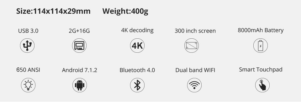 WZATCO D13 Android 7,1 мини карманный проектор 4K Smart Pico DLP портативный светодиодный wifi Встроенный аккумулятор домашний кинотеатр проектор