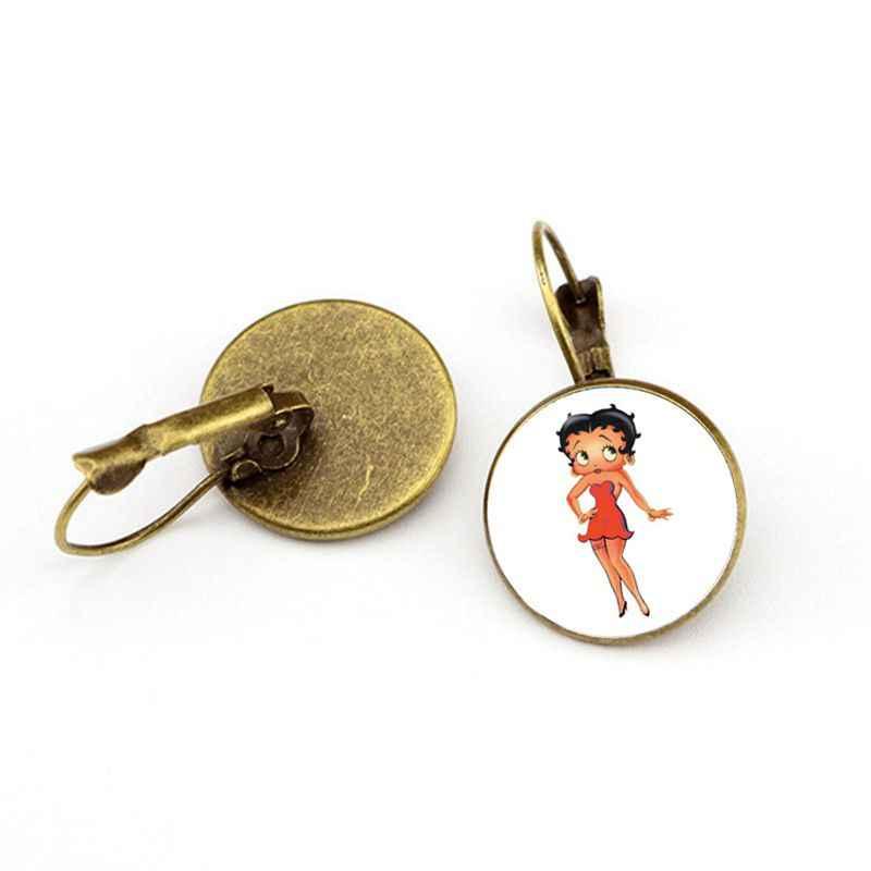 16 มม.ใหม่ล่าสุด Trendy Betty Boop แก้ว Cabochon ต่างหู Harajuku ภาพการ์ตูนน่ารัก Silver Plated Stud ต่างหูสำหรับผู้หญิงหญิง
