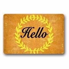 Entrance Floor Mat Non-slip Doormat Hello Door Outdoor Indoor Rubber Non-woven Fabric Top 15.7x23.6 Inch