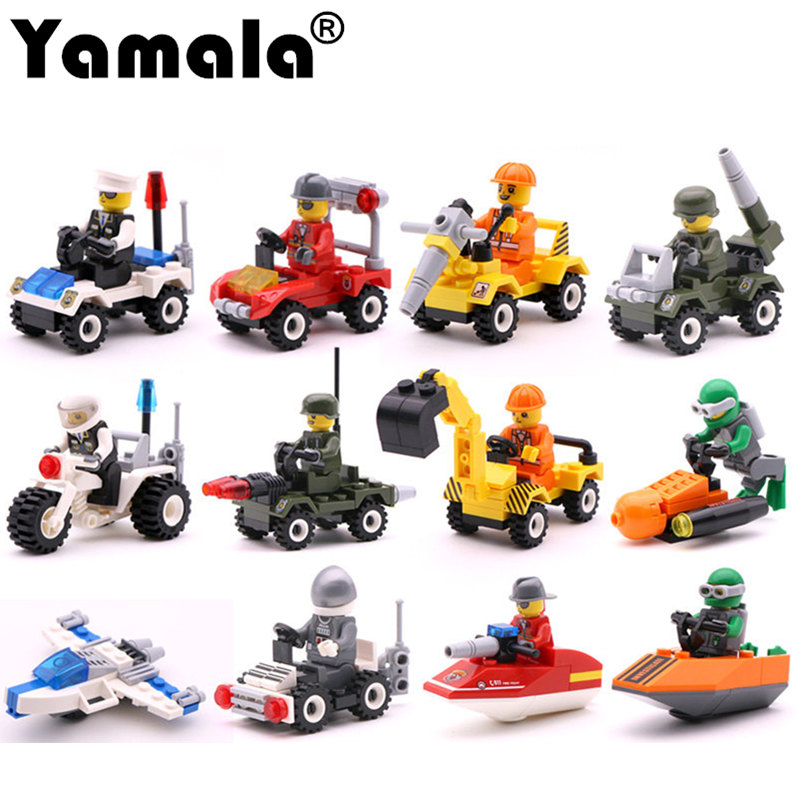 [Yamala] 12 Kinds Original Mini Transportation Block Car Building Blocks Compatible  legoeINGlys Duplo Soliders Police Bricks