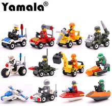 [Yamala] 12 Kinds Original Mini Transportation Block Car Building Compatible legoeINGlys Duplo City Soliders Police Bricks