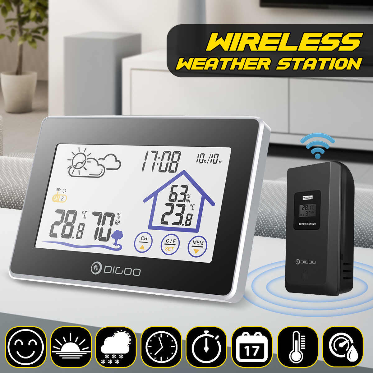 Digoo DG-TH8380 Layar Warna Weather Station Thermometer Hygrometer Meter Cuaca Sensor Outdoor Indoor Sensor Alarm Clock