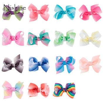 NISHINE 20pcs/lot Colorful Handmade Ribbon Bows for Baby Headband Hair Clip Rainbow Bowknot for DIY Hair Accessories 5 inch handmade hair bows with feather for thanksgiving day hair exquisite accessory ribbon hair clip