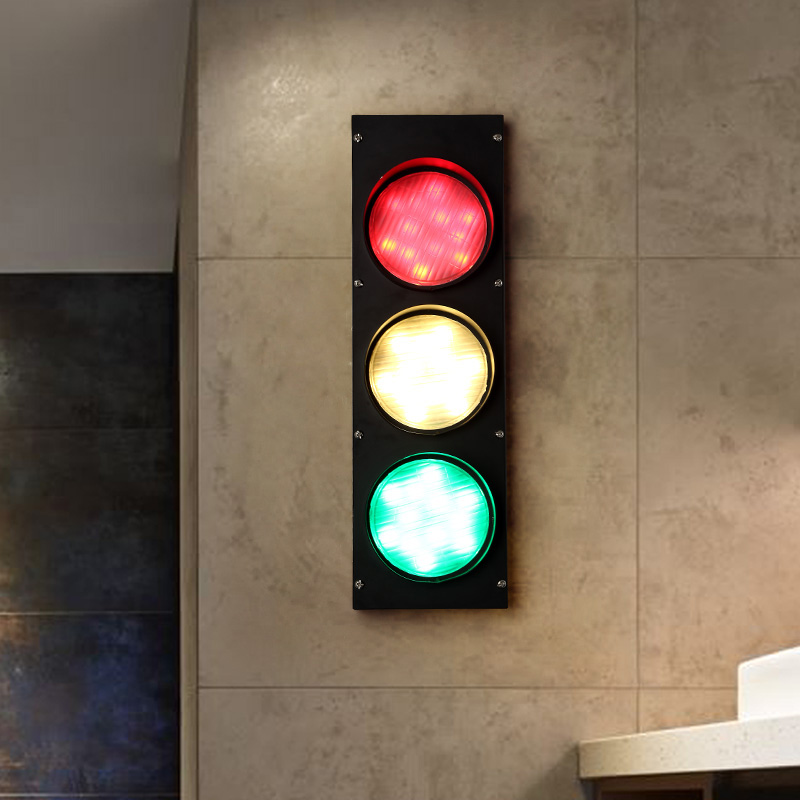 Modern Traffic Light LED Decoration Wall Sconce Fixtures Black Wall Lights For Coffee Bar Dining Room Beside Lighting Lamp WL218