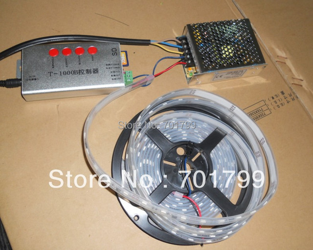 5m DC12V 48leds/m 16pixels)led digital strip,waterproof in silicon tube+12V/60W power supply+T-1000B sd card controller