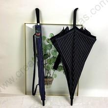 112cm auto open antique anti-thunder fiberglass business windproof stripe black coating 5 times umbrella waterpoof check parasol