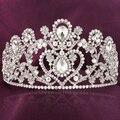 Luxo cheio de strass flor de cristal da coroa da rainha tiaras headbands barroco nupcial acessórios de cabelo jóias de prata das mulheres do vintage