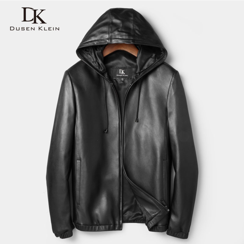 New 2017 Dusen Klein Men Genuine Leather Jacket Spring Outerwear Black/Slim/Simple Business Style/Sheepskin Coat DK7103