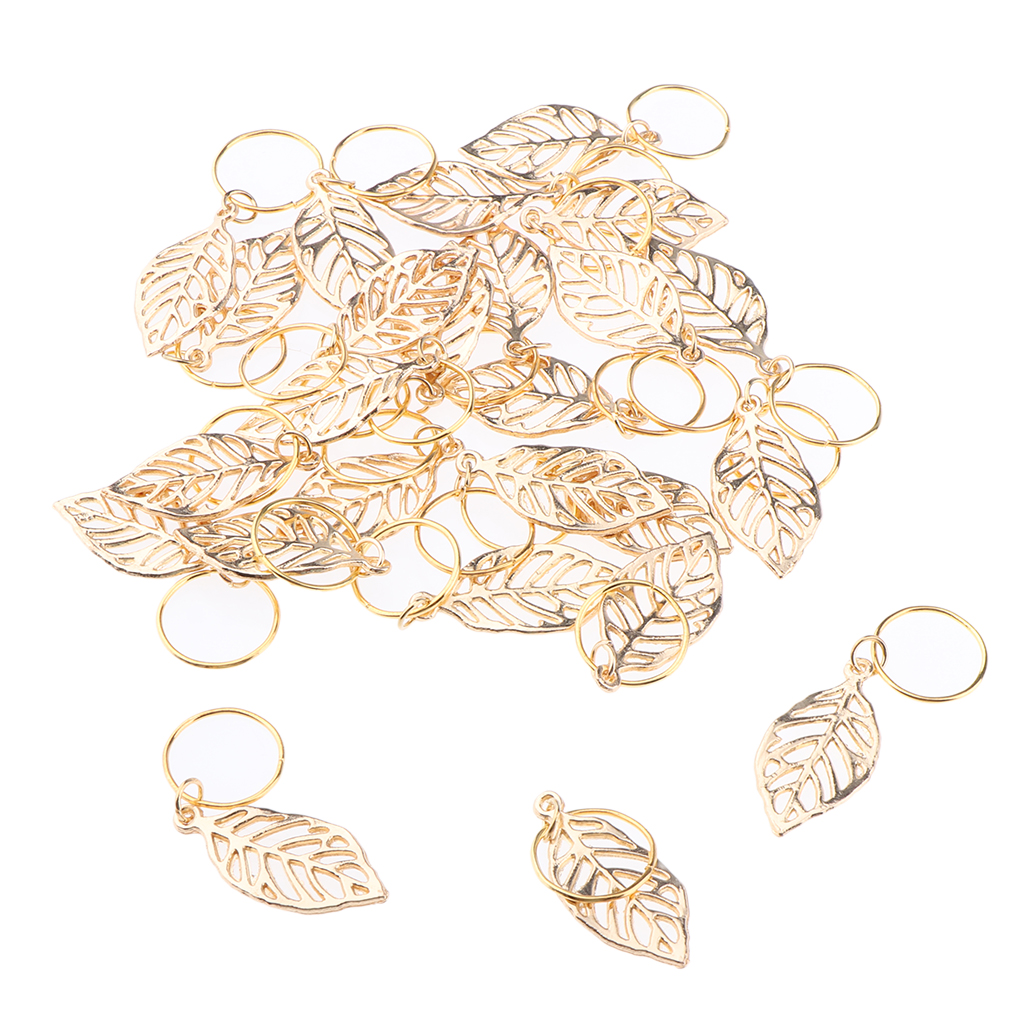 30pcs Dreadlock Beads Aluminum Hair Extension Gold Leaves Hairstyle Pendant(China)