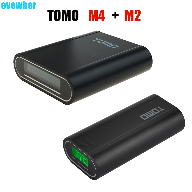 TOMO M4 Shell Power Bank Case Charger Station and TOMO M2 Diy Powerbank Box Casing LCD Power Indicator Display (No Battery) 2pcs power bank cover case tomo m4 and evewher 2 easy to carry smart led powerdisplay and led light fasr delivery no battery