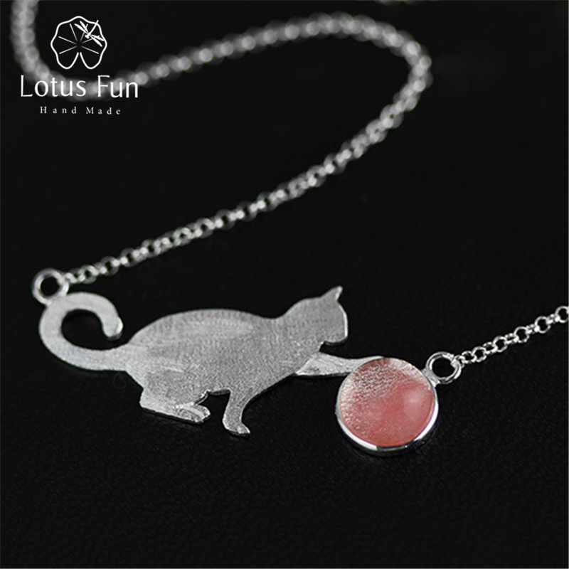 Lotus Fun Real 925 Sterling Silver Natural Stone Handmade Fine Jewelry Playing Cat Necklace with Pendant