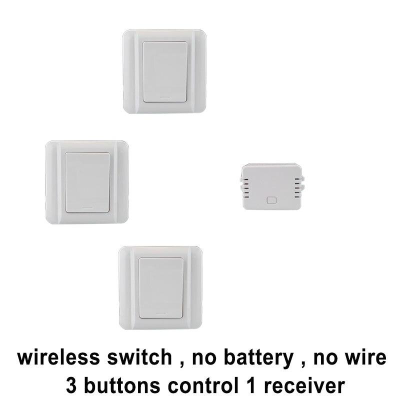 купить Augia 3 buttons + 1 receiver remote light switch waterproof no battery no wire 20M long range push button wireless switch 220V по цене 3195.88 рублей