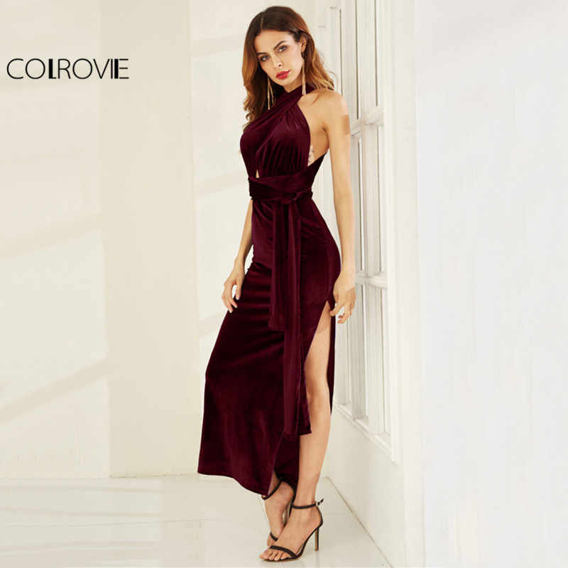 94daf983ed COLROVIE Velvet Convertible Party Dress High Slit Sexy Women Burgundy Maxi  Autumn Dresses Sleeveless Cross Back
