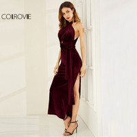 COLROVIE Velvet Convertible Party Dress High Slit Sexy Women Burgundy Maxi Autumn Dresses Sleeveless Cross Back Long Dress