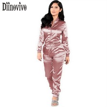 2017 Satin Casual Tracksuit Women Sets Spring Autumn long sleeve Zipper Jacket Top With Long Pant Two Piece Set Female Suit D214