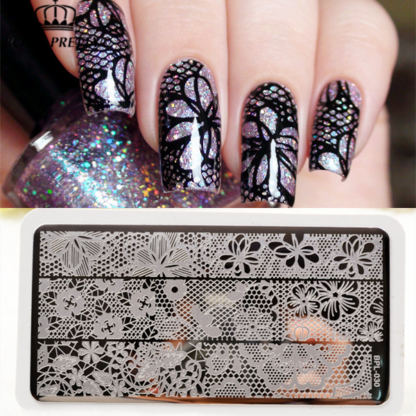 BORN PRETTY Full Lace Plate Nail Art Stamp Template Image Rectangular Stamping PLates 12 X 6cm