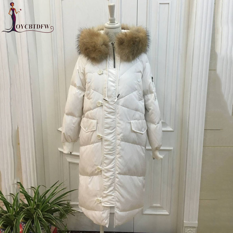 Winter Women   Down     Coat   2018 New Fashion Mid-long Solid Color Fur Collar High-end Hooded Thickening Warm Female Jacket Ll756