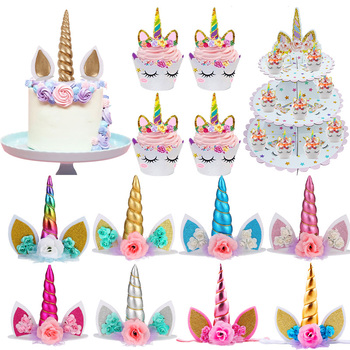Cyuan Unicorn Birthday Cake Wings Decor Cartoon Unicorn Cake Toppers Birthday Party Decoration Kids Cupcake Wrappers Cake Topper unicorn cake cupcake wrappers cake toppers baby shower kids unicornio birthday party decorative supplies unicorn party 12pcs