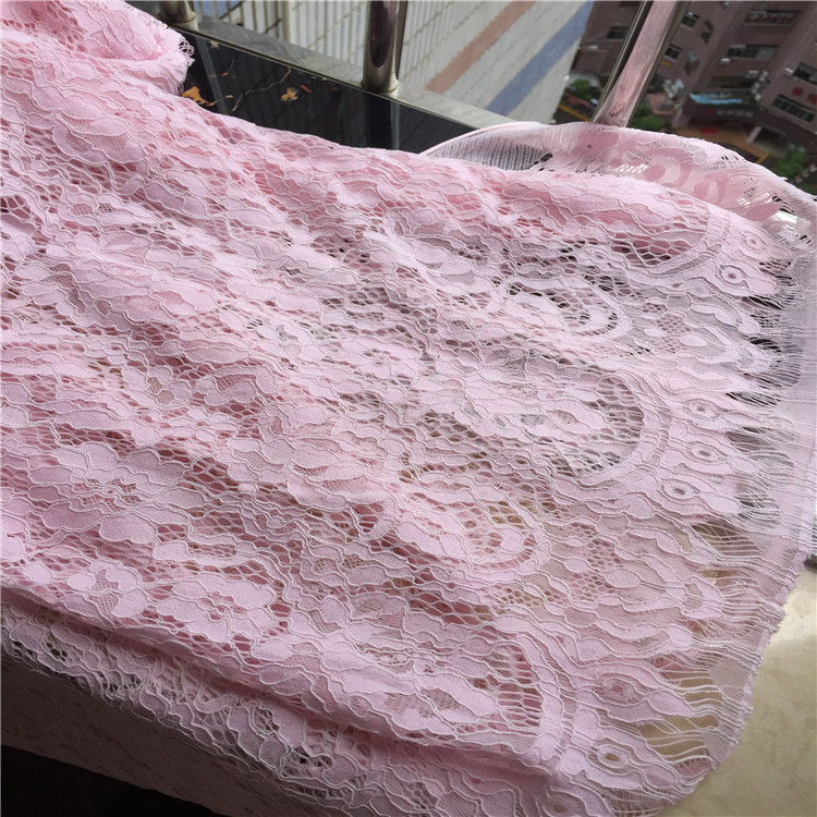 1piece/ lot high quality pink African eyelash openwork lace fabric for DIY garments accessories handicrafts