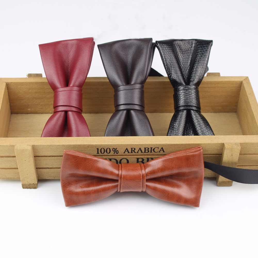 b76787897eac Fashion Valued Pu Leather Men Patchwork Bow Tie Female Necktie Red Gold  Silver Adult Cravate Homme