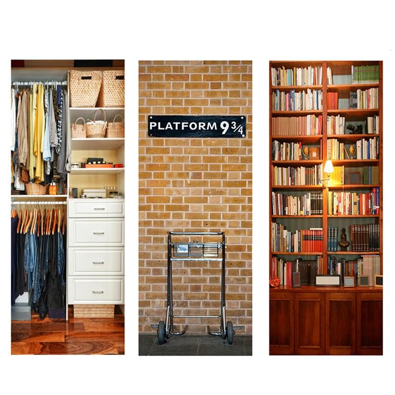 Diy 3d дверь стикер S книжный шкаф шаблон самоклеющиеся водонепроницаемые двери спальня со стенной
