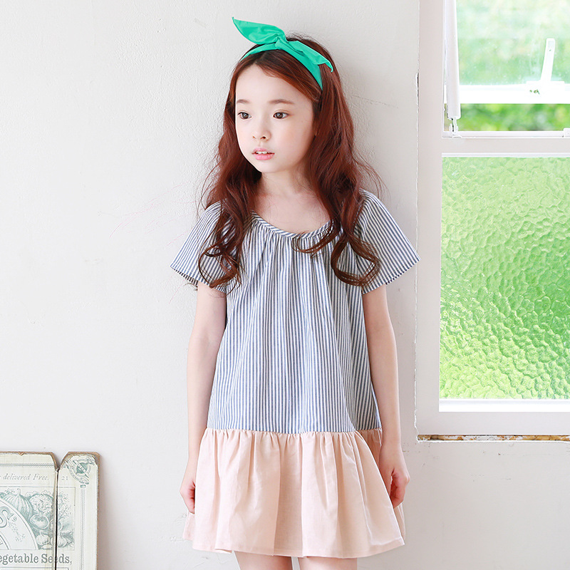 Children's Clothing New Summer Korean Style Kids 4-10 Girl Dresses Child Stripe Stitching Cotton Short Sleeve Lovely Girls Dress summer seaside girls dresses children korean style clothing big girl casual striped costume kids cotton clothes junior vestidos