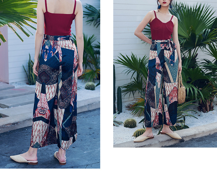 2019 Spring and summer new style Bohemian wide-leg trousers Beach holiday sunscreen trousers Chiffon printed trousers