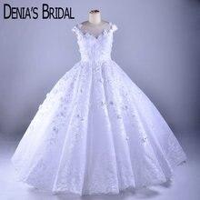 パフィーシャーリングウェディングドレスクルーネック花レースアップリケ床長さのブライダルドレス