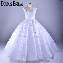 Puffy Ruched Wedding Dresses Crew Neck Flowers Lace Applique Floor Length Bridal Gowns