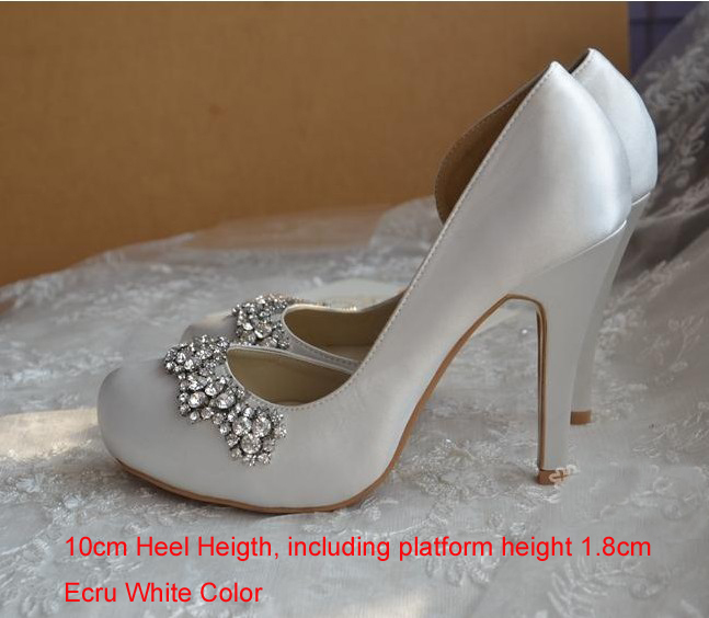 2016 New Style White Satin Bridal Shoes Round Toe High Heel Gorgeous Party Prom Rhinestone Wedding Ecru Color In Womens Pumps From On