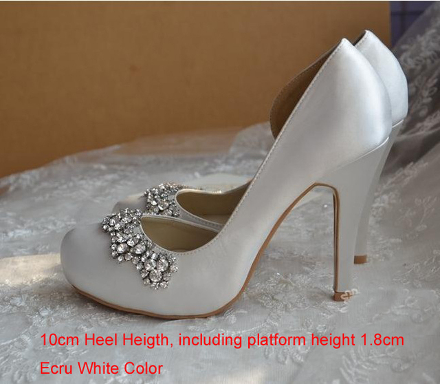 d2e646477892 2018 New Style White Satin Bridal Shoes Round Toe High Heel Gorgeous Party  Prom Shoes Rhinestone Wedding Shoes Ecru Color
