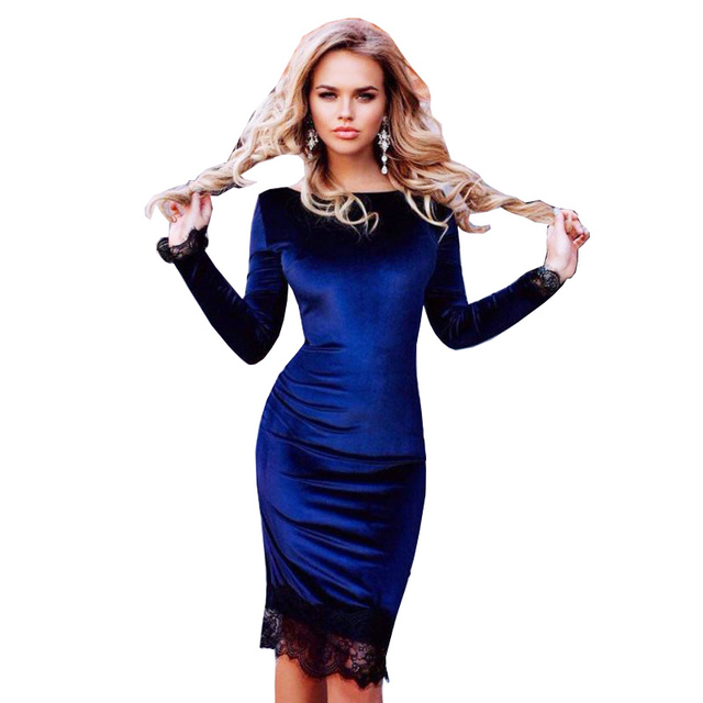 2017 Spring Fashion Blue Velvet Dress With Lace Women Long Sleeve Sexy Slim Sheath Bodycon Party Dresses
