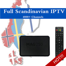 Scandinavian 5000 Live IPTV Mag250 Linux System IPTV Processor STi7105 Top Quality IPTV BOX MAG 250 Norway Sweden Denmark IPTV(China)