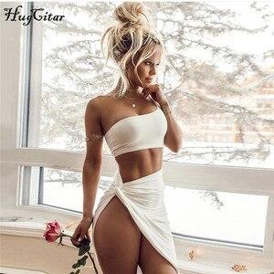Image 5 - Hugcitar một vai dài Flare Tay Crop Tops Váy 2 cái Bộ 2018 nữ thu đông thời trang chắc chắn gợi cảm áo Bộ