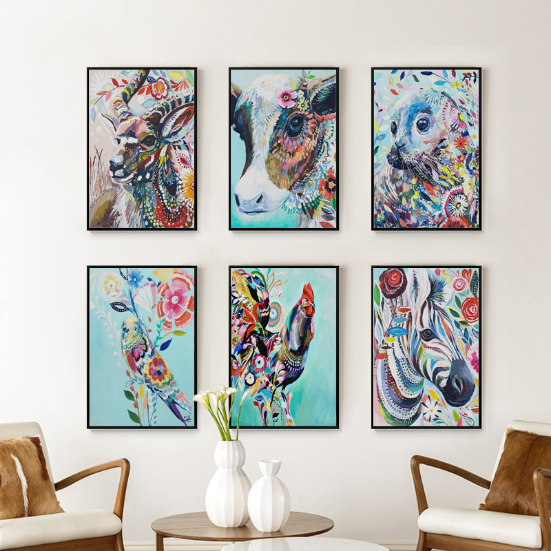 FGHGF Colorful Animal Horse Owl Deer A4 Canvas Painting