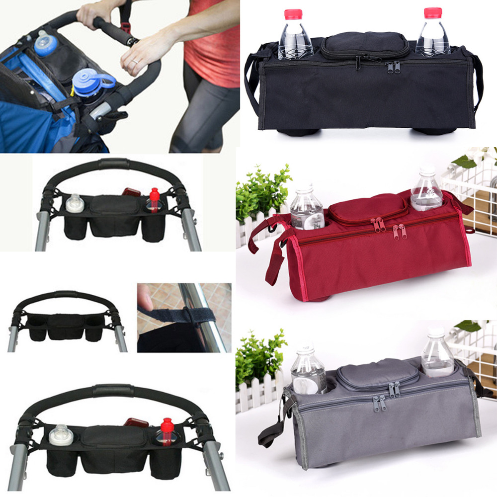Grey Buggy Stroller Organiser,Baby Pushchairs Hanging Changing Bag Pram Storage Bags with Handle Hanging Bags/& Bottle Cups Holde