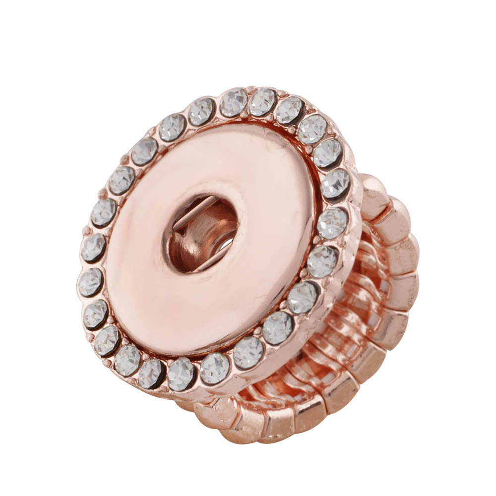 Rose gold silver Crystal DIY elastic adjustable snaps ring fit 18/20mm metal snap buttons women's fashion jewelry Men's ring image