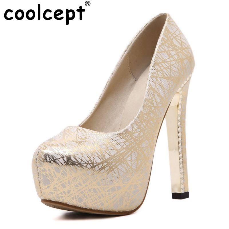 Women High Heels Wedding Shoes Ladies Inside Platform Gold Silver Shoes Thin Heel Party Pumps Heeled Footwear Size 34-39 cicime women s heels thin heel spikes heels solid slip on wedding fashion leisure casual party dressing high heel platform pumps