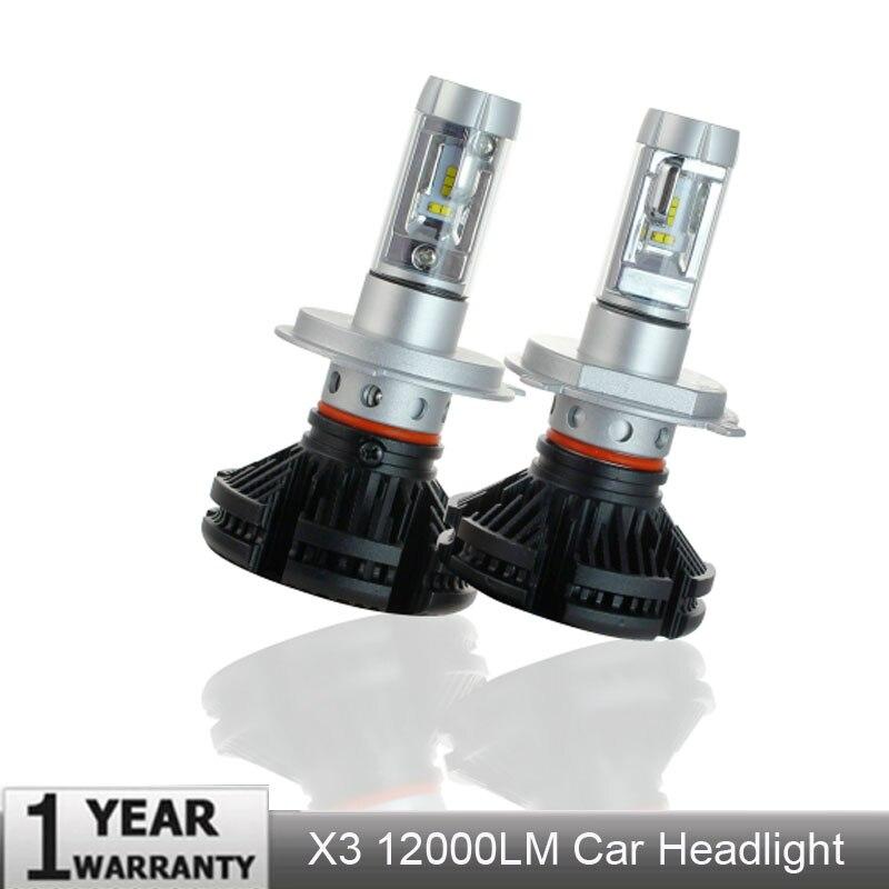 2pcs X3 led headlight 50W 6000LM H4 H7 LED Car Headlight 3000K 6500K 8000K ZES Chip