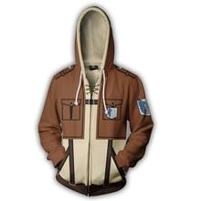 купить Fans Wear Sweatshirt Attack on Titan Printed Hoodies Eren Yeager Zip Up Hoodie Shingeki no Kyojin Zipper Hooded по цене 1276.57 рублей