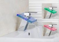 OUBONI Brand New Polished Basin Sink Waterfall Tap Single Lever 8001 2 Deck Mounted LED Basin
