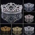 2016 recién llegado de Luxuious AB Color Crystal Bridal Tiaras moda princesa Crown Silver boda coronas accesorios para el cabello venta al por mayor