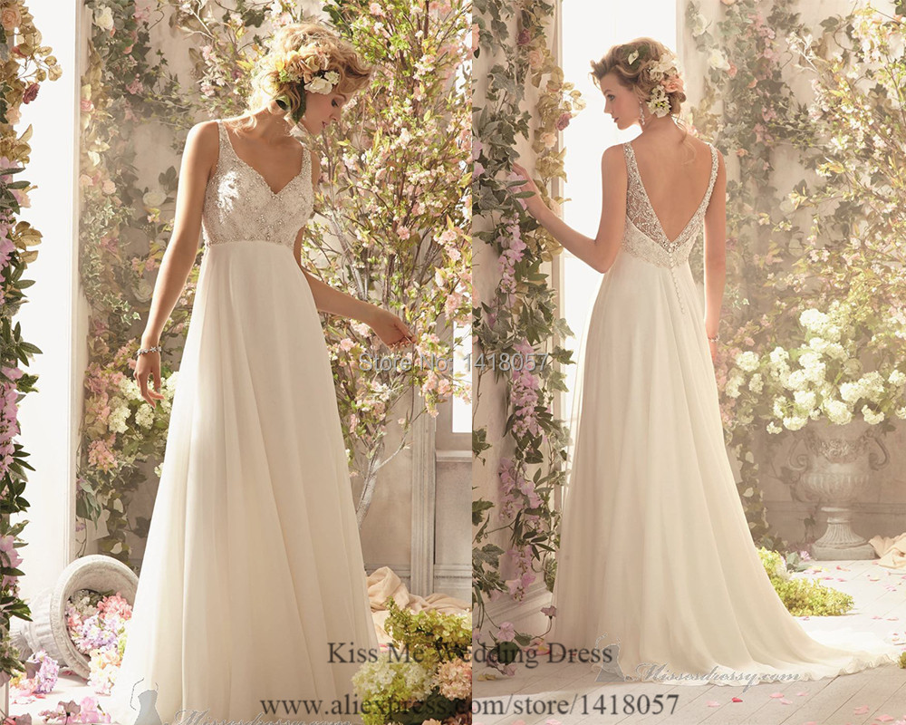 Cheap vintage wedding dresses embellished summer beach for Vintage wedding dresses for cheap