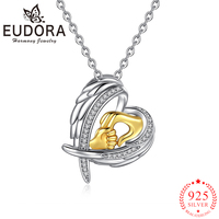 Eudora Authentic 925 Sterling Silver Angel Wings Heart Pendant Necklaces Fashion Gold Hand in Hand Fashion Jewelry for Women