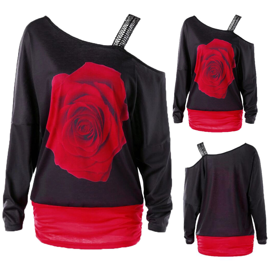 Unique design Womens Rose Print Long Sleeve Off Shoulder Long Hoodies Polyester Broadcloth Print Full Length Sweatshirt #2715