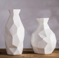 Tangent Plane Ceramics Vases Geometric Porcelain Flower Flask Ornament Craft Accessories for Sitting Room and Dining Table Decor
