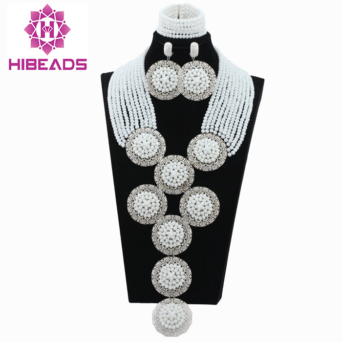 Delicate White Crystal Beads Necklace Jewelry Set Silver  Plated Fashion Jewelry African Beads Set New Free Shipping ABL547Delicate White Crystal Beads Necklace Jewelry Set Silver  Plated Fashion Jewelry African Beads Set New Free Shipping ABL547